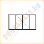 Четворен прозорец с две отваряеми